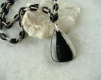 Vintage Trifari Pendant Necklace Black Clear Plastic Modernist