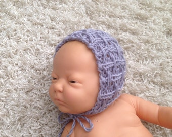 Newborn knit bonnet,photo prop,gift idea,knit,crochet
