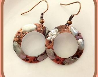 Copper earrings, Silver earrings, Mixed Metal earings, Women's gifts, girlfriend gifts, Friendship gifts, Dangle earrings, Birthday for her