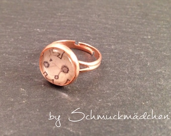 Flower ring rose gold
