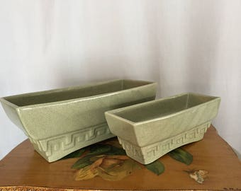 Haeger Pottery Green Ceramic Planter Set of 2 Big and Small Made in USA