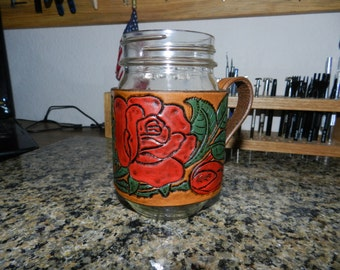 One Pint Hand Crafted Leather Mason Jar Holder
