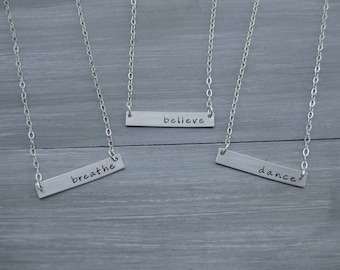 Sterling Silver Bar Necklace Personalized Jewelry Horizontal Bar Hand Stamped Inspirational Mantra Necklace Name Necklace Teen Gift
