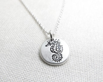 Tiny seahorse necklace, silver seahorse jewelry, beach ocean