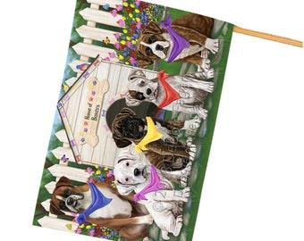 Spring Floral Boxers Dog House Flag