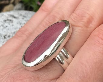 Handmade sterling silver and Pink Jasper ring