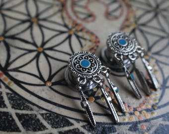 Pair of Dream Catcher Plugs, Gauge Earrings, Festival, Boho Jewelry, 10mm, 12mm, 14mm, 00, 1/2, 9/16