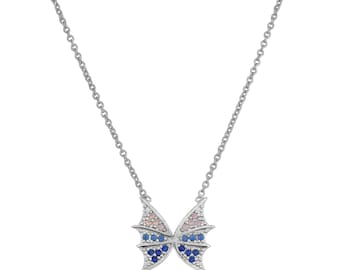 silver sterling 925 necklace, ombre butterfly, spring fashion