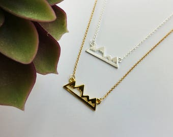 Mountain Necklace - Gold - Silver - Hiker - Outdoor Girl - Outdoor Gift- Wanderlust - Mountain Outline - Mountain Range-
