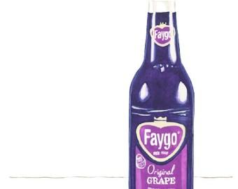 Faygo Grape Pop Watercolor Illustration