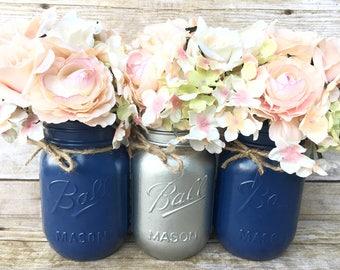 Set of 3 Hand Painted Mason Jars, Sliver Mason Jars, Navy Mason Jars, Wedding Centerpieces, Summer Wedding, Mason Jar Decor, Home Decor!