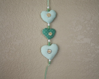 Shades of Green Stuffed Hanging Hearts Wall Decor with Inspirational Buttons