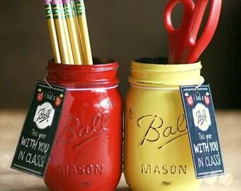 Teacher Appreciation Gift-Teacher Gift-Teacher Mason Jar-End of year teacher gift-Office-Desk-Pencil Holder