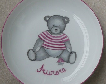 Personalized kids bear hand painted porcelain plate