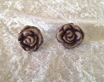 Pair of earrings - studs - purple pink flowers - raku ceramic