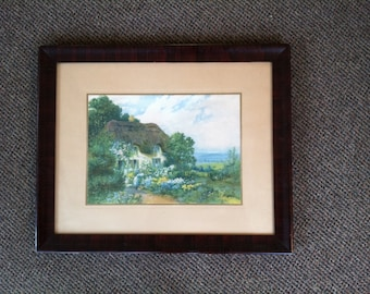 1903-1928 Campbell Art Co Print of T. Noel Smith's Thatched House Garden & Woman
