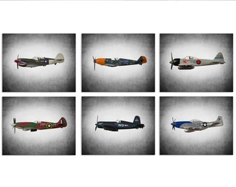 Vintage WWII Airplanes Setof 6 Canvas Prints, Airplane Wall decor, Boys Room Decor, Airplane Wall Art