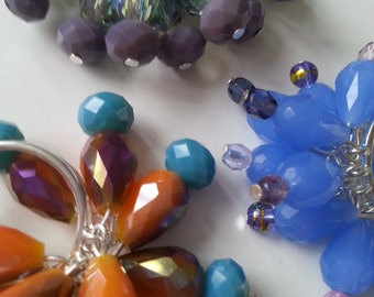 Fabulous, cluster ring, adjustable ring, feature ring, choose colour, glass bead, orange, blue, purple, by NewellsJewels on etsy