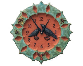 Ravens Ceramic Art Wall Clock- Turquoise & Terracotta withYellow Bees (13.5 inches)