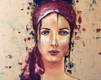 "Emma Greenhill Art print ""Clara"" Matted print on heavy watercolor paper"