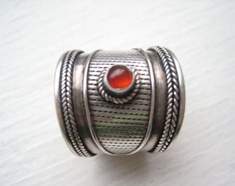Vintage sterling silver cigar band ring, carnelian cigar band, wide sterling band, wide silver band, wide ring band, sterling silver band