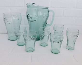 Vintage Coca Cola Pitcher and Glasses, Barware, Serving Pitcher, Coke, Coca Cola Collectibles