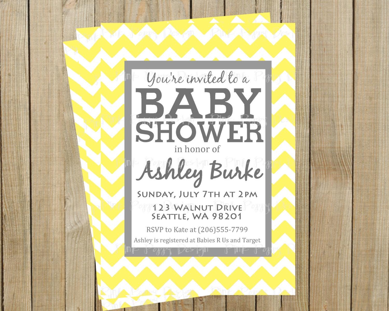 Trendy Yellow Chevron with Gray Baby Shower Invitation Custom