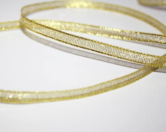 Organza Ribbon gold glittery 6 mm, 1 meter, transparent Gold Ribbon