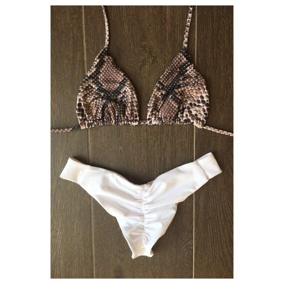 Snake Print Bikini, Two Piece Bikini, Seamless Bikini, White Bikini made by SULTRY SWIMWEAR®