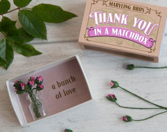 Thank You Gift, Thank You, Paper Flowers, Thank You Card, Thanks for helping, Teacher Gift, Thank You Gifts, Matchbox, Roses, Friend Gift