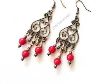 Red Statement Earrings Bronze Dangle Earrings Red Vintage Earrings Boho Earrings Bohemian Tribal Gypsy Gifts for her