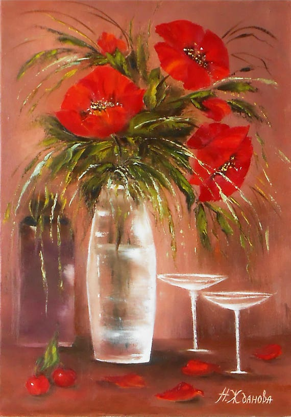 Red poppies flowers red flower painting oil still life flowers te gusta este artculo mightylinksfo Image collections
