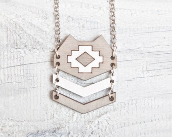 Wood Cat Necklace, Gray Cat Pendant, Tribal Necklace, Native American Necklace, Geometric Necklace, Gray Pendant, Girl For Sister