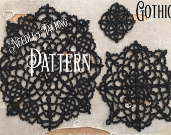 PDF Tatting Pattern - Gothic Doily - Pendant - Ornament - Small Doily