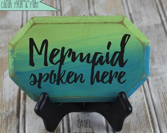 Mermaid spoken here mini plaque, mermaid lover gift, beach decor, tropical decor, beach house gift, mermaid sign, mermaid decor