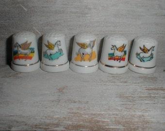 Five Winged Unicorn Porcelain Thimbles *Magical Set*