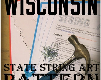 "WISCONSIN - DIY State String Art Pattern - 8.5"" x 9.5"" - Hearts & Stars included"