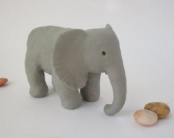 Polymer Clay Elephant, Elephant Sculpture, Elephant Art, Jungle Animal, Elephant Figurine, Clay Animal, Nursery Decor, Elephant Cake Topper