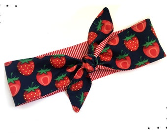 Rockabilly headband Strawberries stripes 50s