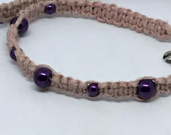 Pastel Goth Dusty Rose Macrame Choker – Handwoven Macrame with Metallic Purple Glass Pearls