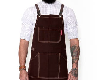 Essential Heavy Duty Cross-Back Apron - Brown Waxed Canvas - Brown Leather