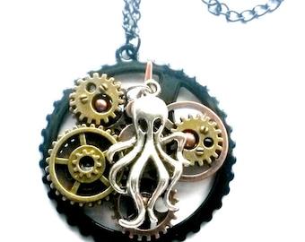 Steampunk Octopus Necklace Gears 3D Handmade Gift