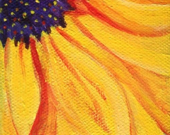 Original Sunflower acrylic painting, mini easel, small sunflower on Canvas 3 x 3 , sunflower art, sunflower decor, mini canvas art