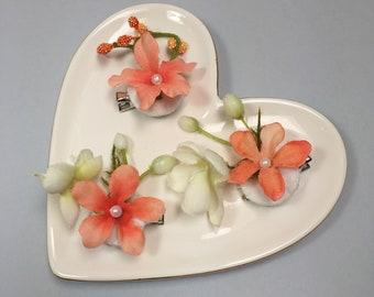 Peach Floral Hair Clips - Coral Hair Clips - Orchid Hair Clips - Orchid Floral Clips - Floral Wedding Clips - Orchid Bridal Hair Clips