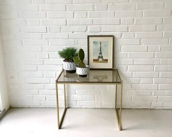 Mid Century Tisch, Vintage Beistelltisch, Messing Tisch, Nachttisch, Tisch Regency, Glastisch, Boho Stil, Couchtisch, Mid century Möbel