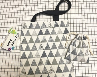 Buy One and One Free Cotton Linen Eco Market Shopping Tote Shoulder Bag Print Triangles + Drawstring Pouch