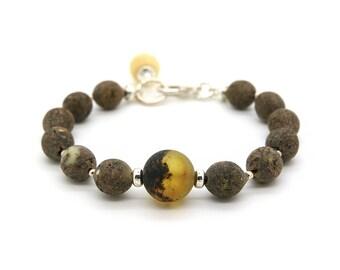 Raw Amber Bracelet - Beaded Amber Bracelet - Statement Bracelet - Gemstone Bracelet - Raw Amber Jewelry - Boho Bracelet -DO-379