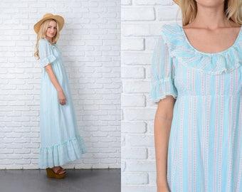 Vintage 70s Blue Boho Hippie Dress Striped Floral Polka Dot Lace Puff Slv Small 9750