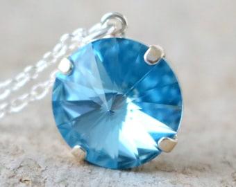 Aqua Swarovski Necklace | Crystal Necklace | Swarovski Jewelry | Blue Necklace | Beach Wedding | Aqua Wedding | Something Blue | Aquamarine