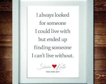 I can't live without you Valentine – Word Art Personalised Print* A4 (also available in A3) or PDF